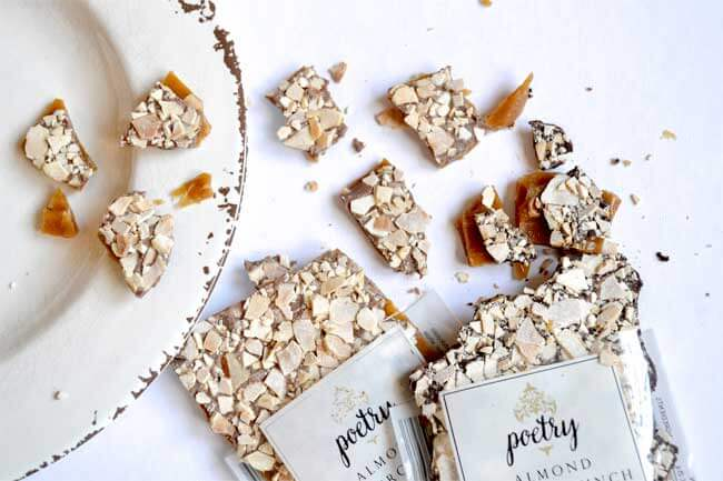 Gourmet almond toffee bite size treats