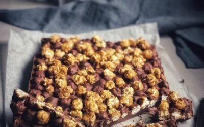 Salted Caramel Popcorn and  Chocolate Slice