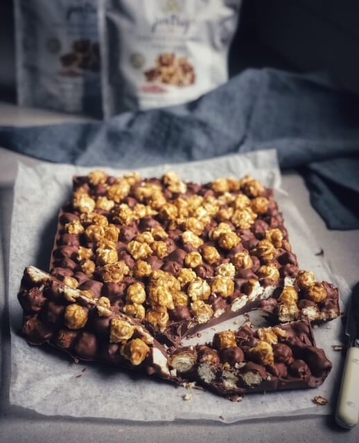 Salted Caramel Popcorn and  Chocolate Slice